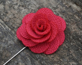 Pink Flower Lapel Pin for Suit Wedding Special Event Party
