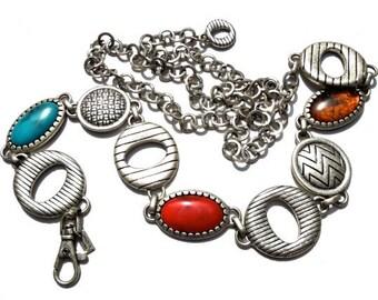 VINTAGE: 1980's - Chicos Metal Linked Belt - Metal Belt - Silver Metal Belt - (19-A2-00004883)