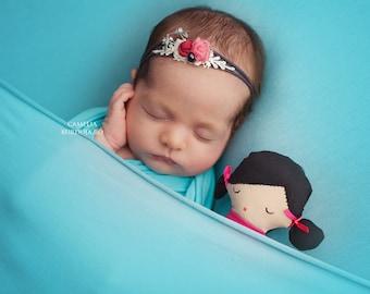 Newborn headband, Newborn tieback, Elastic newborn tieback, Shades of pink and Grey headband,Tieback prop,Newborn tieback,Photo prop tieback