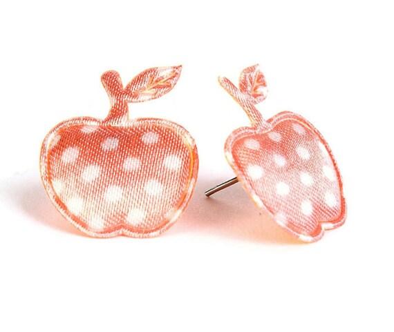 Sale Clearance 20% OFF - Peach orange polka dots apple applique hypoallergenic studs earrings (401)