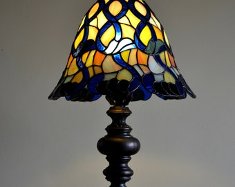 Stained glass lamp. Tiffany light. Living room lamp. Modern style. Stained glass shade. Bedside lamp. Stained glass art. Mosaic lamp