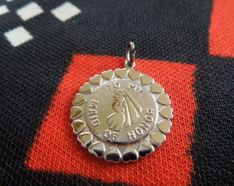 Sterling Maid of Honor Disc Charm Sterling Silver Charm for Bracelet from Charmhuntress 04466