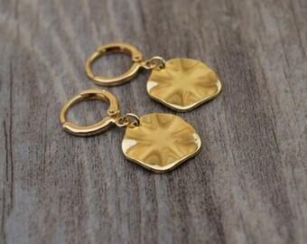 gold wave disc hoops endless hoop huggie dangle earring simple earrings everyday/gift for her