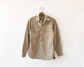 Vintage Distressed Army Fatigue Khaki Blouse - Fitted Women's