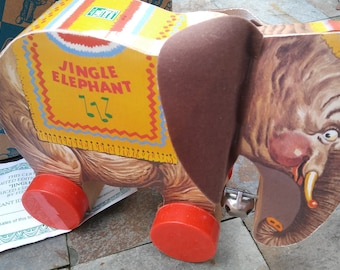 1993 Vintage Fisher Price Commemorative Jingle the Elephant Pull Toy