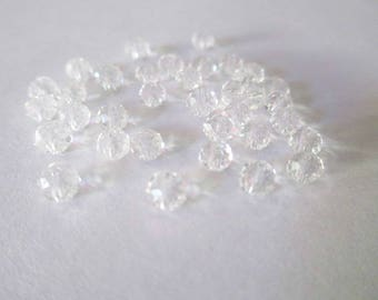 20 rondelle beads faceted transparent glass 4mm