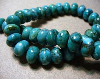 Web Jasper Teal  Beads  Gemstone Rondelle 12x8mm