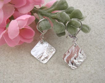 SQUARE EARRINGS, Unique silver earrings, geometric earrings, upcycled jewelry, spoon jewelry, textured drop earrings,  reticulated silver.