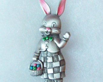 "Vintage Bunny Brooch Signed JJ 2""h Easter Brooch"