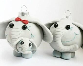 Elephant Family Christmas Ornaments, FREE SHIPPING