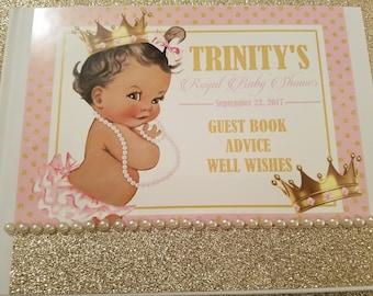 Royal Princess Baby Shower Advice Book, Pink and Gold Baby Shower Guest Book, Royal Baby Shower Guest Book