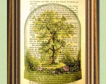 MY SECRET GARDEN - Dictionary art print -Botanical Art - Wall Art - Garden Art