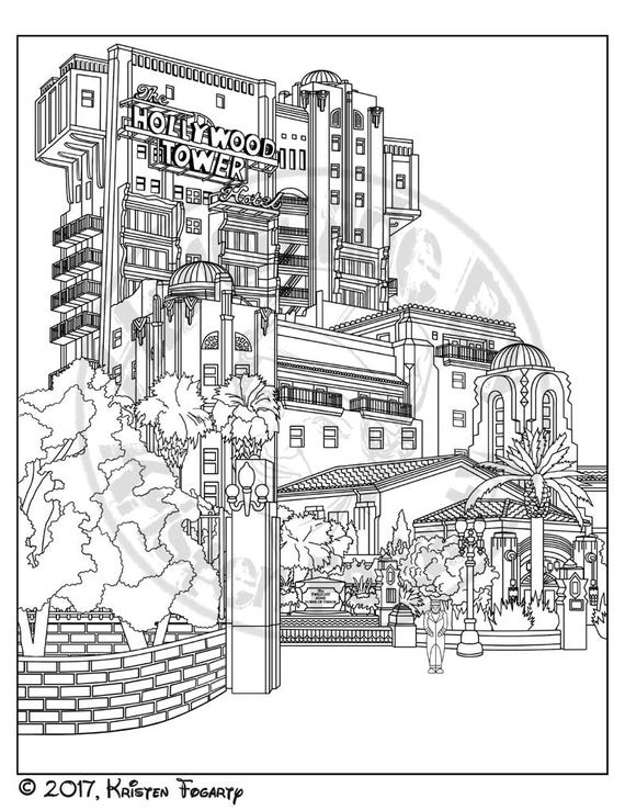 Disneyland Digital Adult Coloring Page Tower Of Terror Hollywood Sign 1970s California Pages