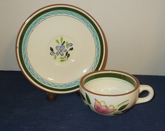 Vintage 1960s Stangl Pottery Flat Cup & Saucer-Country Garden Pattern-Great Condition