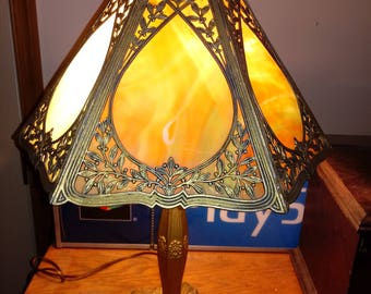 Table Lamp Slag Glass Vintage 1940's Lighting