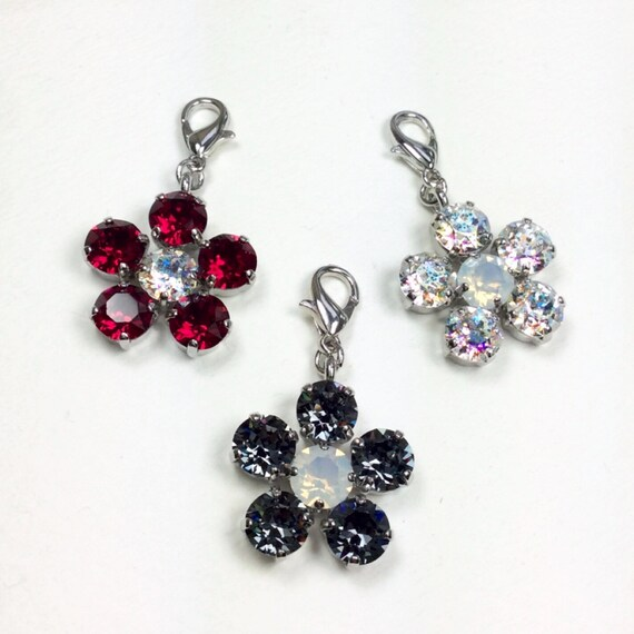 Swarovski Crystal Flower Pendant   White Patina, Ruby Red, or Silver Night   Add- On Flower Pendant - Designer Inspired -  FREE SHIPPING