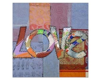 Mix Media Art, Paper Art Quilt, Art Pictures, Online Art Gallery, Wall Art in Bedroom, Art Affordable, Small Art,Décor Wall,LOVE 2 Word Art