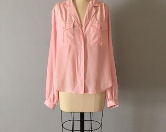 ballet pink summer blouse | semi sheer envelope pocket blouse