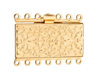 Filigree line square 7 strand box clasp Gold finished brass 27x36mm