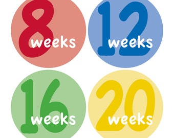 12 Weekly Pregnancy Mama-to-be Maternity Waterproof Glossy Stickers  - Monthly stickers available - Design W001-03