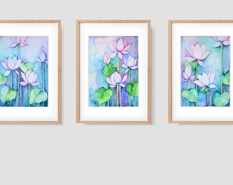 """Watercolour on paper, original painting, available with frame options, """"Lotus Fantasy"""" set of 3 (5""""x8"""" each)"""