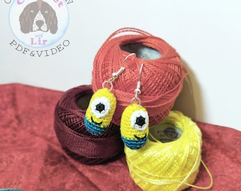 Minion Inspired Earrings Micro Crochet Pattern and Video Tutorial