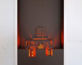 3D Papercut Art: Castle // Pop Up Art // Handmade Wall Art // Paper Cut