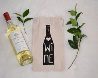 Wine Gift Bag Canvas Tote. I Love Wine