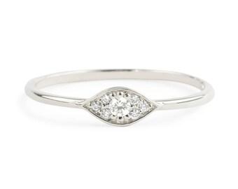 Evil eye ring, 14k white gold with white diamonds, Evil eye jewelry, rose gold,  gold option