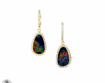 Opal Earrings, Dangle Opal and Diamond Earrings, 14 Karat Yellow Gold Opal Earrings, Opal Doublets,October Pal Stone  | EAR01762