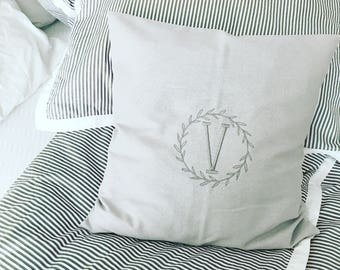 Letter Embroidered Pillow Cover