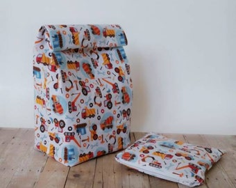 Lunch sack, snackbag, trucks and tractors,kids lunch bag, school lunch, reusable pouch set, food storage bag