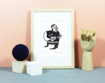 Rockstar | Linoldruck, Linolschnitt, Grafik, Druck, Print, Original, limitiert, Musik, Musiker, Rock, Metal, Pop, Heavy Metal, schwarz, A5
