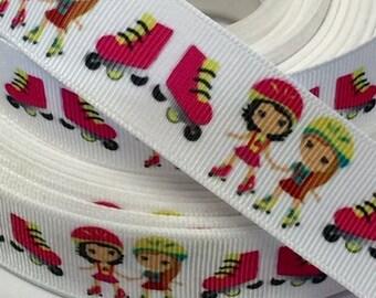 7/8 inch - Roller Skates on White Girls Sports Printed Grosgrain Ribbon for Hair Bow