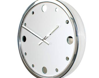 Roco Verre White Leather Empire Wall Clock