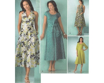 Fit and Flared Dress Pattern with Neckline/Sleeve Variations Simplicity 2888 Uncut Threads Step by Step Sewing Pattern Size 8-16 Bust 31-38
