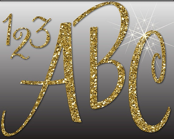 GLITTER GOLD ALPHABET Digital ClipArt: Letters Numbers