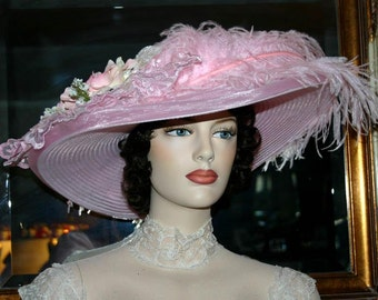 Edwardian Hat, Kentucky Derby Hat, Ascot Hat, Tea Party Hat, Titanic Hat, Somewhere Time Hat, Downton Abbey Hat - Pink Rose Crystal Fairy