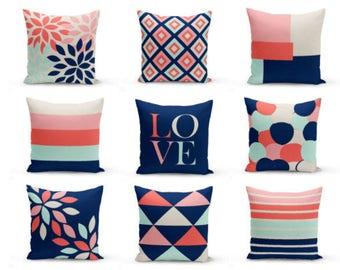 Throw Pillow Covers, Decorative Pillows, Cushion Cover, Geometric, love, floral, Coral Navy Aqua Blush Beige, Home Decor, Living Room Decor