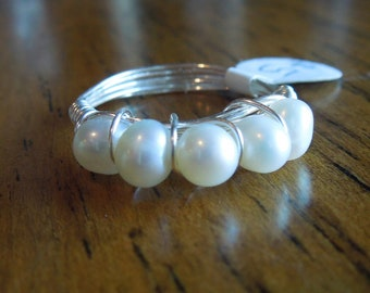 White Freshwater Pearl Band Ring Wire Wrapped Silver Gold Bronze - Size 3, 4, 5, 6, 7, 8, 9, 10, 11, 12, 13 and 1/2 sizes