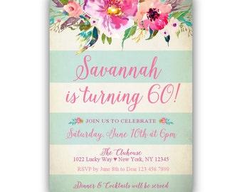 60th birthday invitation for women, watercolor floral mint stripes birthday party invitation, digital file jpg or pdf