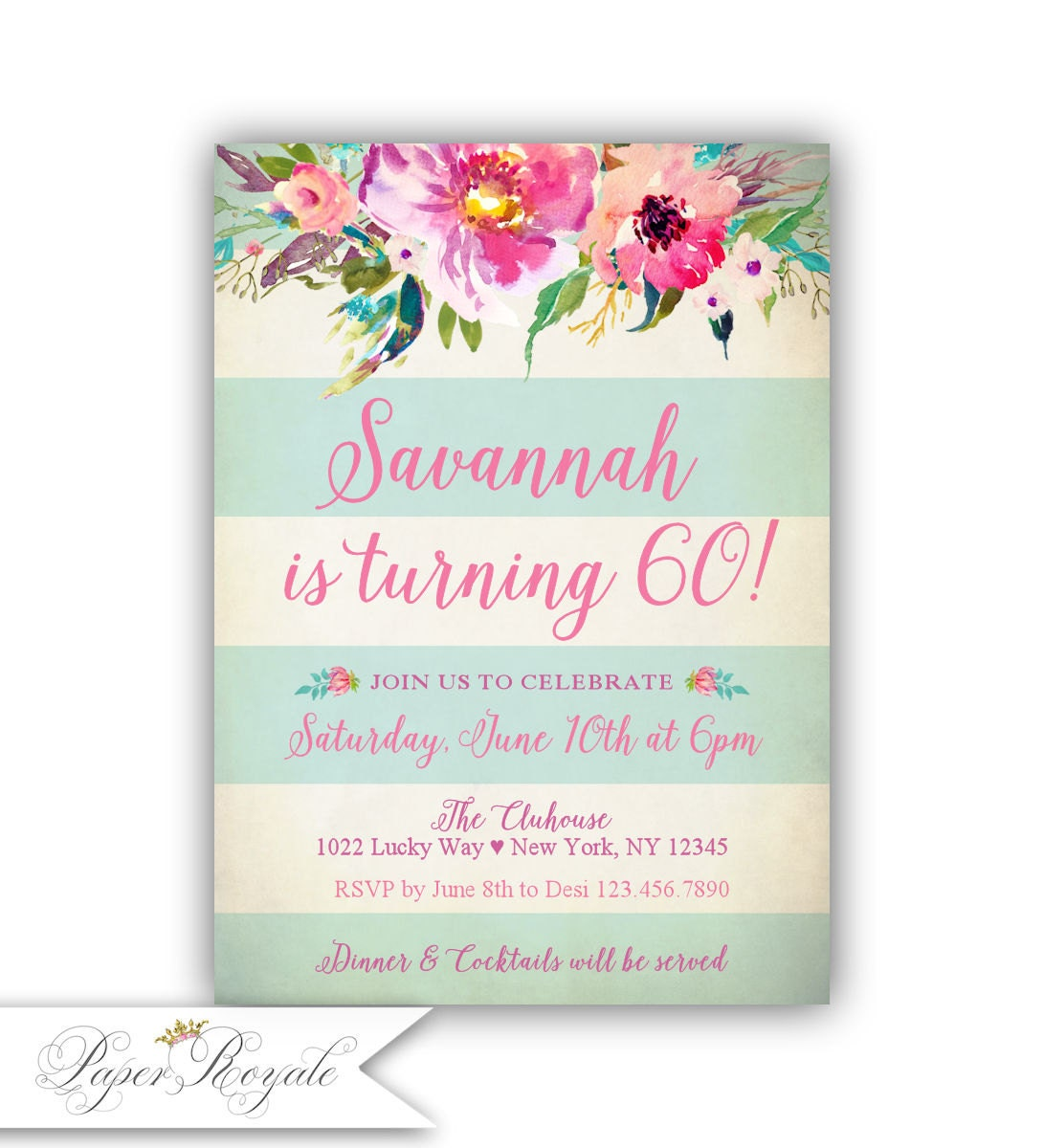 60th birthday invitation for women watercolor floral mint