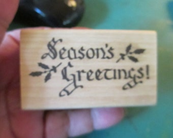 """Rubber Stamp Christmas """"Seasons Greetings""""  stamp For cards and scrapbooking  used"""