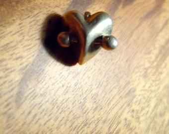 Hand sculpted 3d pierced heart pendant