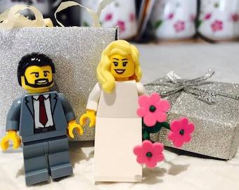 Personalised Wedding Gift - Set of  Lego® Bride & Groom Fridge Magnets