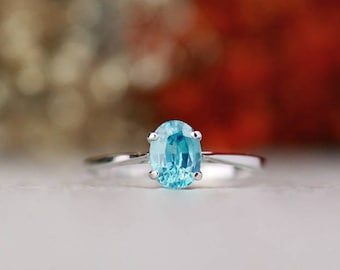 Natural Carribean Blue Zircon Engagement Ring | Solid 14K Gold | Prong Setting | Polished Finish | Fine Jewelry | Free Shipping