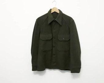1970s Green Wool Military Shirt