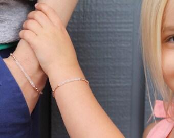 Quartz and Rose Gold Mommy & Me bracelets, matching bracelet, quartz and rose gold