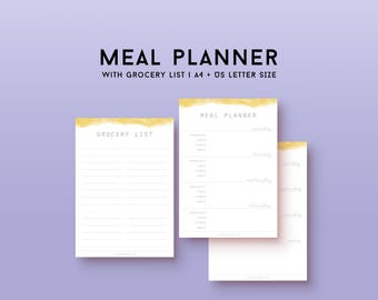 Printable meal planner with grocery list PDF, shopping list, planner inserts, weekly menu planning, food journal, daily meal planner