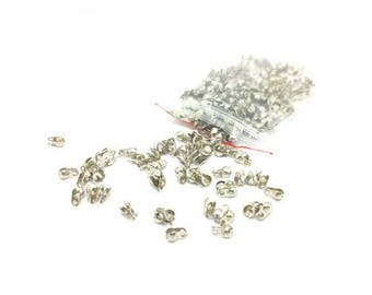 250 tips bend chain clasps silver gray 2.4 mm ball